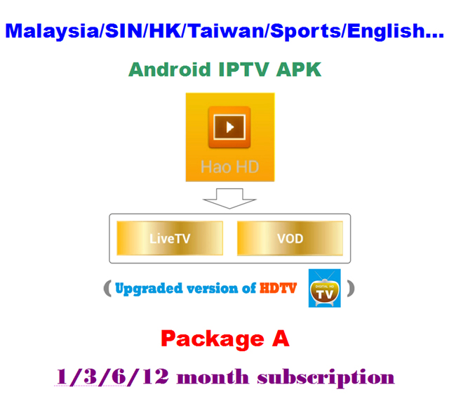 HaoHD (HDTV) APK-Package A, Malaysia/SIN/HK/Taiwan/Chinese/Sports/English  Android IPTV Subscription